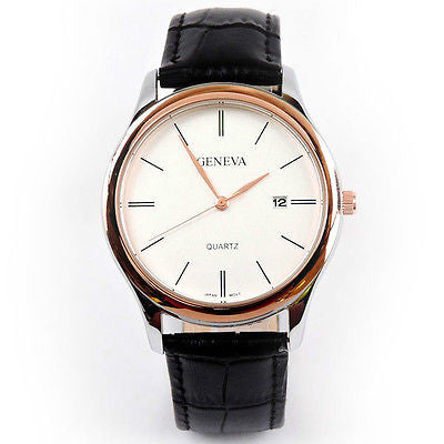 Geneva Rose Gold Black Leather Classic Round Date Quartz Watch