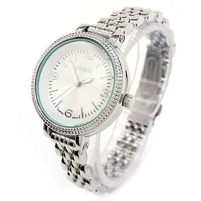 Geneva Silver Medium Case Slim Design Women's Quartz Watch
