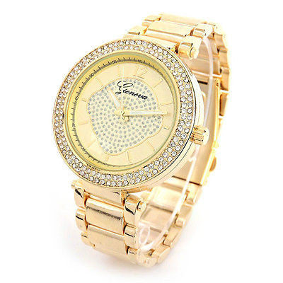 Gold Brushed Bracelet 3D Geneva Crystal Bezel Women's Boyfriend Style Large Watch