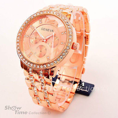 Rose Gold 3D Geneva crystal Bezel Large Bracelet Boyfriend Style Women's Watch