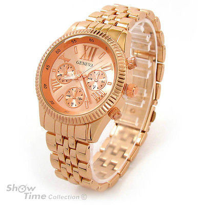 Rose Gold 3D Roman Hours Large Bracelet Boyfriend Style Geneva Women's Wrist Watch