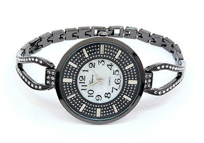 Black Crystal Bling Face Thin Bracelet Women's Jewelry Watch
