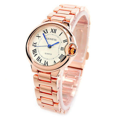 Rose Gold Small Case Classic Analog Roman Dial Geneva Women's Watch