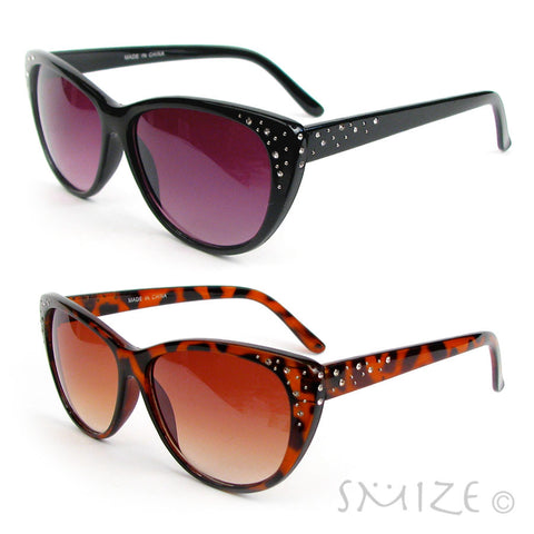 Cat Eye Black or Tortoise Crystal Decorated Women's Cateye Sunglasses