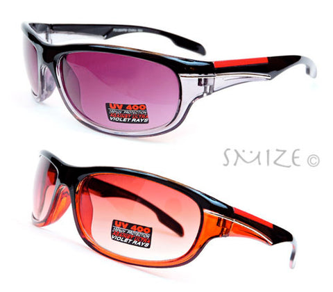 Black Red Sport Design Square Plastic Frame UV400 Unisex Sunglasses