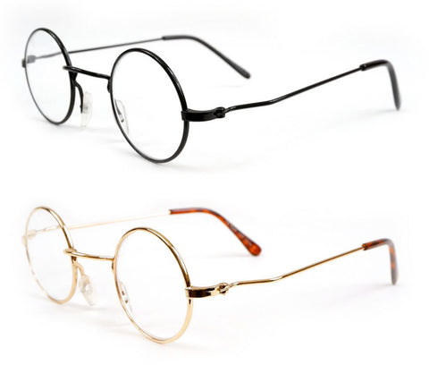 Lennon Style Round Metal Reading Glasses Black Gold Small Size Readers