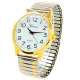 2Tone Large Size Face Easy to Read Geneva Stretch Band Watch