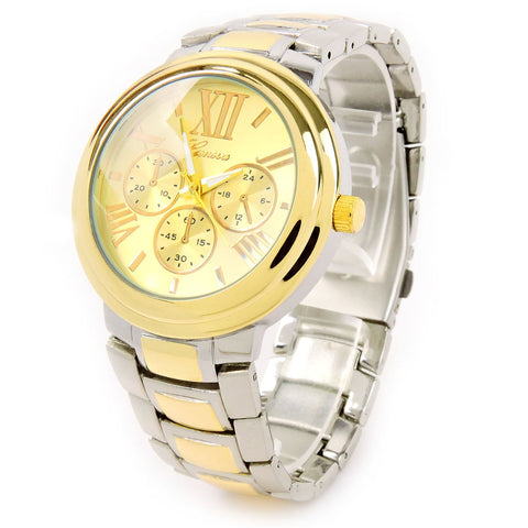 2Tone Large Bracelet 3D Dial Heavy and Oversized Women's Boyfriend Style Watch