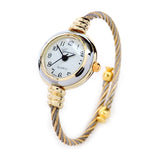 Two Tone Gold Silver Geneva Cable Band Ladies Bangle Watch