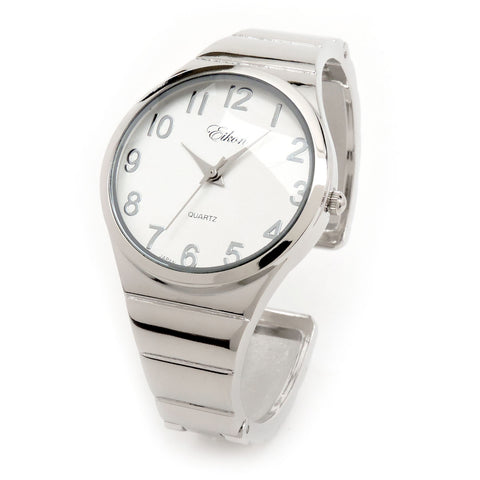 Silver Metal Band Easy to Read and Fashionable Women's Bangle Cuff Watch