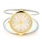 Two-Tone Elegant Dual Cable Band Bracelet Women's Bangle Cuff Watch