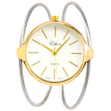 Eikon Two-Tone Elegant Dual Cable Band Bracelet Women's Bangle Cuff Watch