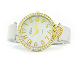 2Tone Crystal Bangle Cuff Watch with Heart Shape Charm Watch for Women
