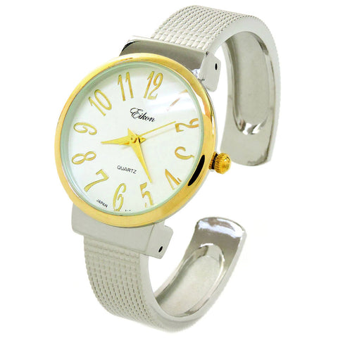 2Tone Mesh Style Band Easy to Read Women's Bangle Cuff Watch