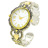 2Tone Metal Decorated Large Oval Face Women's Bangle Cuff Watch