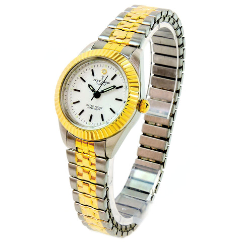 2Tone Brushed Finish Silver and Gold Band Petite Size Women's Stretch Band Watch