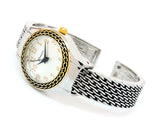 2Tone Western Style Round Face Easy to Read Women's Bangle Cuff Watch