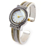 2Tone Designer Style Luxury Women's Fashion Bangle Cuff Watch