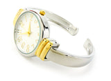 2Tone Metal Band Slim Case Women's Bangle Cuff Watch