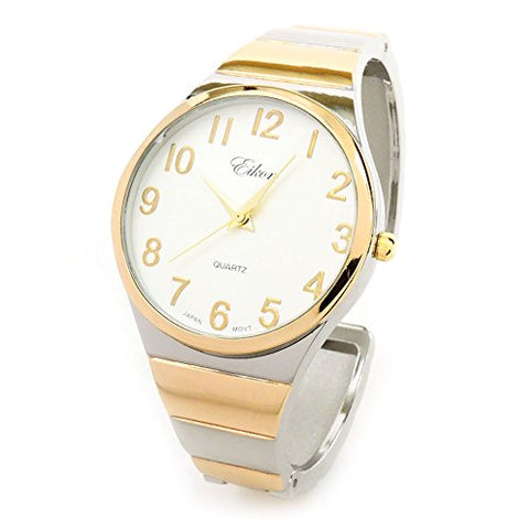 Clearance Sale - Two Tone Metal Band Easy to Read and Fashionable Women's Bangle Cuff Watch