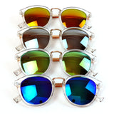 Retro Unisex Clear Frame Sunglasses Mirror UV400 Lens Round Glasses