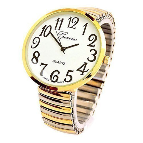 CLEARANCE SALE - Two-Tone Super Large Face Stretch Band Watch