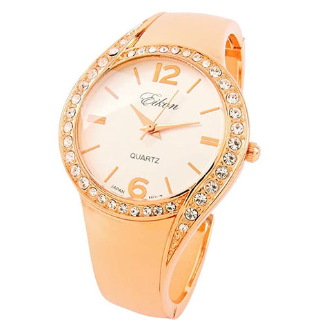CLEARANCE SALE - Rose Gold Metal Band Crystal Bezel Luxury Women's Bangle Cuff Watch