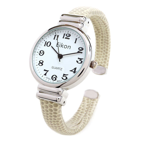 Beige Snake Style Band Slim Case Women's Bangle Cuff Watch