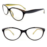 Reading Glasses Cat Eye Frame Spring Hinges Crystal Readers
