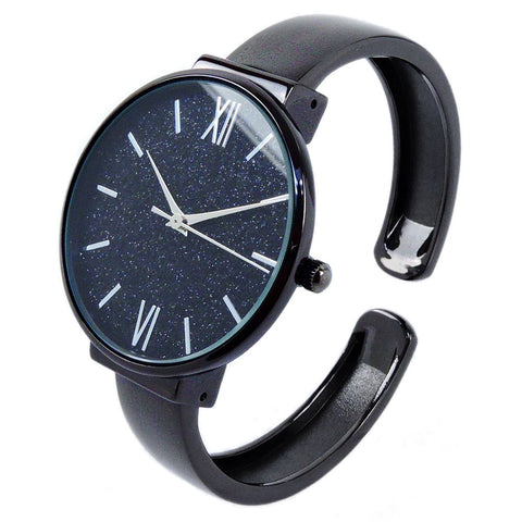 Black Round Face Glittered Dial Fashion Women's Bangle Cuff Watch