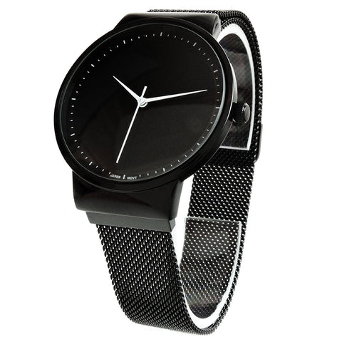 Black Mesh Band Milanese Loop Magnetic Closure Clasp Men Women Watch 35mm, Black