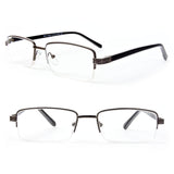 Semi-Rimless Rectangle Lenses Spring Hinges Reading Glasses