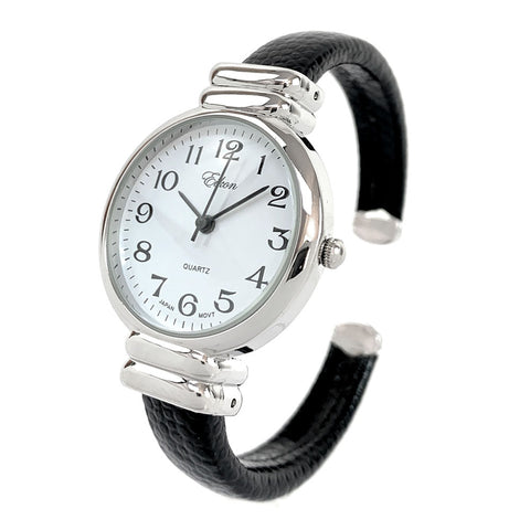 New Eikon Black Silver Snake Style Band Slim Case Women's Bangle Cuff Watch
