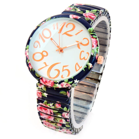 Navy Blue Roses Floral Print Large Face Easy to Read Stretch Band Extension Women's Watch