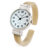 Horn Silver Ivory Acrylic Band Silver Round Face Women's Bangle Cuff Watch