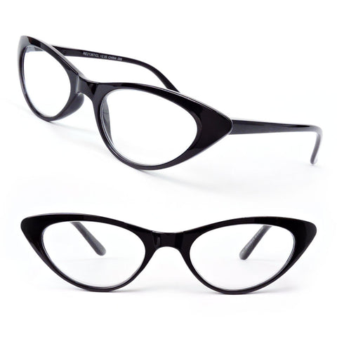 Cat Eye Frame Spring Hinges Black or Tortoise Women's Reading Glasses 175-300