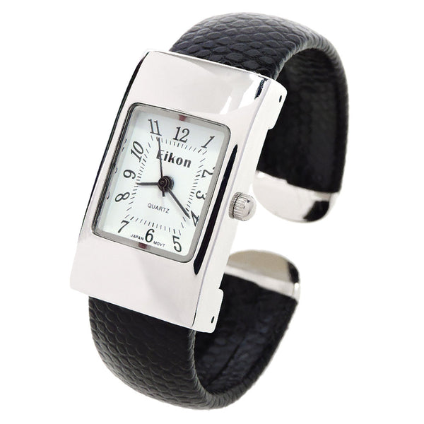 Silver case snake style band small size women 39 s bangle cuff watch showtime collection for Small size womans watch
