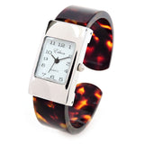 Tortoise Silver Acrylic Band Small Size Women's Bangle Cuff Watch