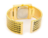 Gold Tone Twist Rope Style Rectangle Face Cuff Watch for Women