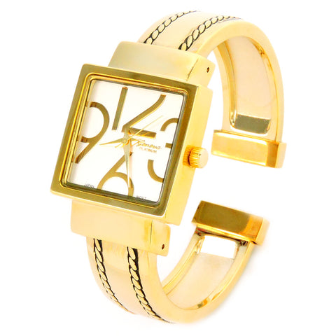 Gold Square Dial with Oversized Hours, Stitch Style Bangle Cuff Watch for Women