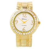 Gold Metal Brushed Finish Crystal Bezel Large Face Women's Bangle Cuff Watch