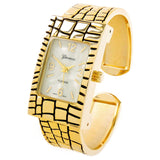 Gold Croc Style Band Rectangle Bangle Cuff Watch for Women