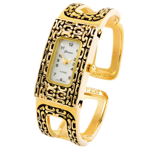 Gold Black Loop Style Decorated Bangle Cuff Watch for Women