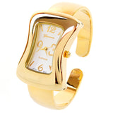 Gold Melting Shape Case Small Size Women's Bangle Cuff Watch