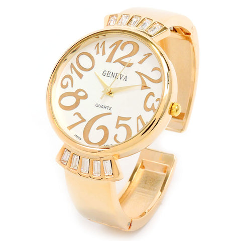Geneva Crystal Band Large Face Bling Women's Bangle Cuff Watch