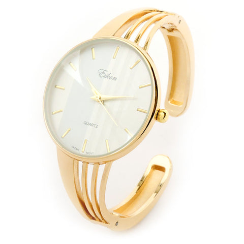 Gold Tone String Style Band Luxury Women's Bangle Cuff Watch