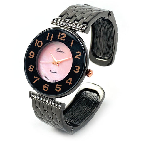 Black Rose Braided Style Band Pink Mother of Pearl Dial with Crystal Accent Women's Bangle Cuff Watch