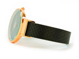 Black Rose Mesh Style Band Large Dial Easy to Read Women's Bangle Cuff Watch