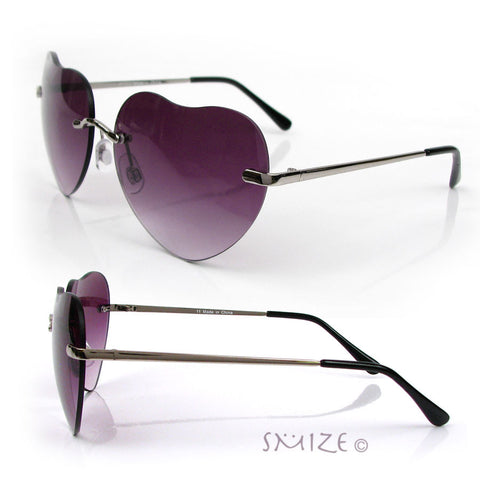 Heart Shape Sunglasses Women's Gold or Silver Rimless Love Aviator New