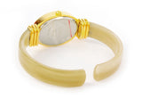 Horn Gold Acrylic Band Oval Face Women's Eikon Bangle Cuff WATCH